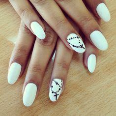 white nails with a cross design #nails