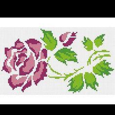 R Cute Cross Stitch, Cross Stitch Rose, Cross Stitch Flowers, Cross Stitch Charts, Cross Stitch Patterns, Swedish Embroidery, Knitting Charts, Bargello, Hama Beads