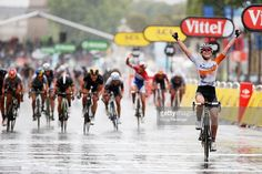 Anna Van Der Breggen of the Netherlands and Rabo Liv Woman Cycling Team celebrates as she crosses the finish line to win the La Course By Le Tour De France 2015 Women's Race on July 26, 2015 in Paris, . #TDF2015 #rm_112