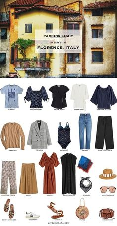 What to Pack for Florence, Italy - livelovesara Do you need some ideas of what to pack for Florence, Italy in early summer? I have a Florence packing list to help you on your way. Head over to my post for what to pack and outfit ideas. Outfits Winter, Summer Outfits, Italy Packing List, Travel Capsule, Travel Packing, Travel Tips, Travel Videos, Italy Outfits, Quoi Porter