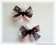 Lace Bows - {The Ribbon Retreat Blog}...ohhh, soooo cute!!!!!