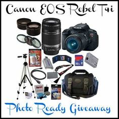 Photo Ready Giveaway - Win a Canon EOS Rebel Camera {Worldwide} - Karas Deals and Steals Canon Eos Rebel, Focus Camera, Slr Camera, Camera Tips, Telephoto Zoom Lens, Wide Angle Lens, Photography Equipment, Shopping, Photography