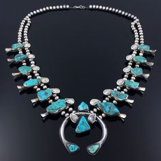 Zuni Sterling Silver Turquoise Squash Blossom Necklace | eBay