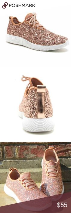 New rose glitter sneakers New Flattering rose gold glitter sneaker with a lace up front, rigged sole and cushioned arched heel. These seem to fit true to size. Due in 9-11. Shoes Sneakers