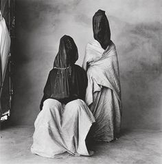 Two Guedras, Morocco, 1971  Guedras is a dance performed by nomads of the southwest desert area of Morocco. The covering of the dancer is called a haik.  The purpose of the ritual dance is to serve as a blessing for friends or married people or to the community, or to submit the self to God.