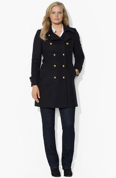 Classic  Lauren Ralph Lauren Double Breasted Peacoat (Plus Size) available at #Nordstrom