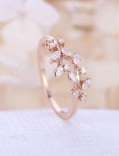 Rose gold engagement ring Diamond Cluster ring Unique moissanite Delicate leaf wedding women Bridal set Promise Anniversary Gift for her Rose gold Verlobungsring Diamant-Cluster Ring einzigartigen Verlobungsring Blatt Hochzeit Braut Schmuck J Diamond Cluster Engagement Ring, Gold Engagement Rings, Engagement Ring Settings, Diamond Wedding Bands, Oval Engagement, Cheap Vintage Engagement Rings, Engagement Bands, Delicate Rings, Unique Rings