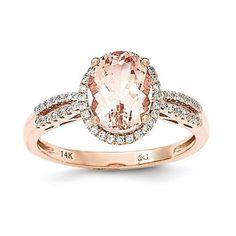 14k Rose Gold Oval Morganite & Diamond Halo Ring