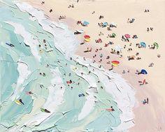 La peintre Sally West évoque avec des petites touches de couleurs proches de l'abstraction des images estivales de plages et d'océans à la surface à la surface parcourue de vagues.