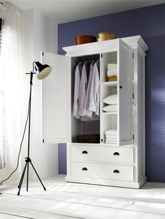 Shop for Interior Distressed White Wardrobe Armoire. Get free delivery On EVERYTHING* Overstock - Your Online Furniture Shop! Get in rewards with Club O! White Armoire, Armoire Dresser, Painted Wardrobe, Wardrobe Drawers, Wardrobe Storage, Double Wardrobe, White Wardrobe, Bedroom Furniture, Home Furniture