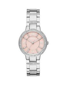 Fossil  Womens Silver-Tone Stainless Steel Three Hand Virginia Watch