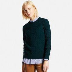 Women's Cotton Cashmere Cable Knit Sweater