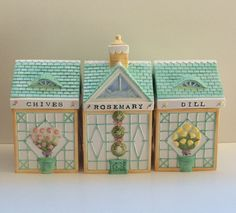 Certified Int'l Herb Trellis 3 Pc. Houses Canister Set Holly Holderman NNIB