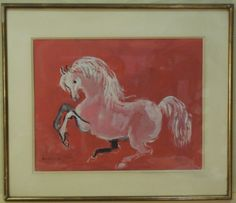 "Prancing horse painting, signed by the acclaimed Moroccan artist, Hassan El Glaoui. Born 1923. 19"" H x 24"" W. Tiny hole and puncture in paper. Slight ripple to paper. Otherwise good conditio"