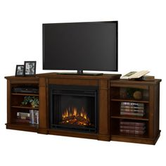 Hawthorne Media Console with Electric Fireplace in Burnished Oak.