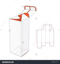 Tall Box With Bottom Auto Lock Die-Cut Pattern Stock Vector Illustration 284556509 : Shutterstock