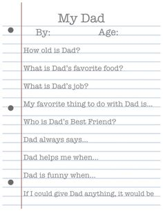 Free Father's Day Printable! Great sentimental idea for the kids to do!
