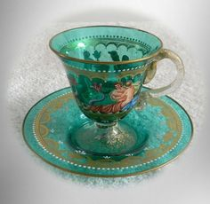 Murano Venetian art glass cup and saucer - victorian scenes and gold - FREE SHIP