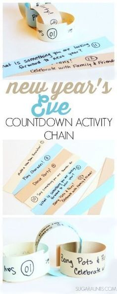 New Year's Eve activity countdown for kids paper chain craft. Try this for a… New Year's Eve activity countdown for kids paper chain craft. Try this for a Noon Years Eve party or a kid friendly party to count down… Continue Reading → New Years With Kids, Family New Years Eve, New Years Eve Games, New Years Eve Party Ideas For Family, Countdown For Kids, New Year's Eve Countdown, Countdown Ideas, New Year's Eve Activities, Party Activities