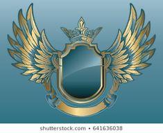 Imagens, fotos stock e vetores similares de Heraldic shield on the background of exquisite decor. Best Logo Design, Graphic Design, Survival Knots, Heart With Wings, Creative Logo, Cool Logo, Coat Of Arms, Retro, Bunt