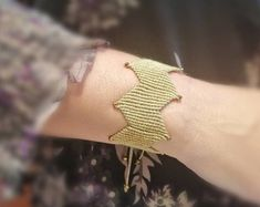 cuff bracelet in gold Zig zag chevron, Christmas present, present for her, macrame Crystal Beads, Crystals, Greek Culture, Chevron, Zig Zag, Elegant, Bracelets, Gold, Beautiful