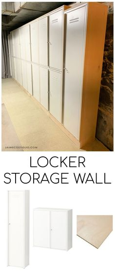 A DIY tutorial to create a built in locker storage wall using metal lockers and a wood frame. An awesome concealed storage solution. #storage