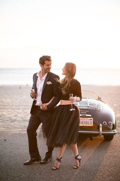 Yes. A suit and girl in a black tulle skirt http://www.itgirlweddings.com/blog/stylish-engagement-shoot