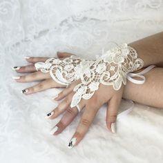 Wedding white lace beaded wrist cuffs / bracelets / wrist wraps by AlicesLittleRabbit on Etsy