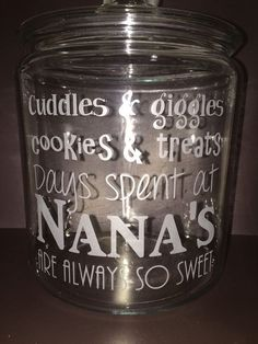 Cookie Candy Glass Etched Jar, Grandparent Gift, grandma, Mimi, nana, Mother's Day, Christmas Gift