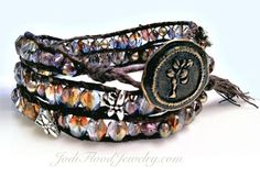 My Chan Luu inspired Beaded Wrap Bracelet - I used the Beaded Wrap Bracelet tutorial from MakeBraceletsBlog at http://makebraceletsblog.com/2011/01/12/beaded-wrap-bracelet-video-tutorial and bought my button from AsCuteAsAButton.com and Irish Waxed Linen Thread from RoyalwoodLtd.com