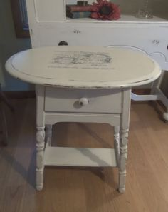 Shabby Chic Side Table End Table Plant Stand by KJsTinCanTreasures, $85.00