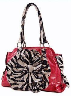 Charming! 3d Raised Zebra Print Flower Handbag Purse Pink $33.99