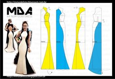 ModelistA: A4 NUM 0083 DRESS colourblock open back gown