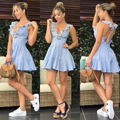 Vestidos juveniles boho summer outfits in 2019 elbiseler, moda stilleri, gi Grad Dresses, Sexy Dresses, Casual Dresses, Short Dresses, Fashion Dresses, Look Fashion, Girl Fashion, Autumn Fashion, Womens Fashion