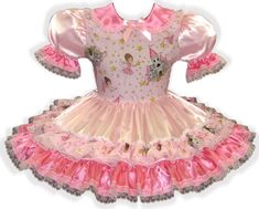 """/""""Heather/"""" Custom Fit Lacy PINK Brocade Adult LG Baby Sissy Dress LEANNE"""