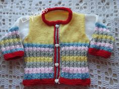 Hand knitted baby cardigan. Multi-coloured stripes