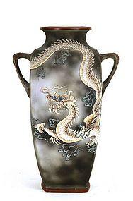 Japanese Nippon Dragon Ware Jewel Moriage Dragon Vase