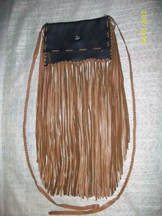 OOAK Handmade Fringed Medium Sized Premium Leather Purse-Pouch-Bag - Native American. $54.79, via Etsy.