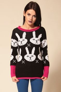 Flip Flops Fangs Bunnies Knitted Jumper Black White | eBay £31.19