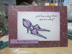 Word stamp - Penny Black, shoe stamp - Clarity stamp, coloured with promarkers