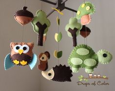 "I can make this----Baby Crib Mobile - Baby Mobile - Nursery Forest Crib Mobile - ""Forest Little Creatures"""
