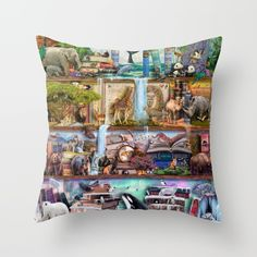 The Amazing Animal Kingdom Couch Throw Pillow by Aimee Stewart - Cover x with pillow insert - Indoor Pillow Throw Cushions, Couch Pillows, Designer Throw Pillows, Down Pillows, Accent Pillows, Fluffy Pillows, Photomontage, Animal Kingdom, Pillow Inserts