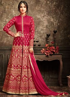 Hot Pink and Gold Embroidered Pant Style Anarkali Suit