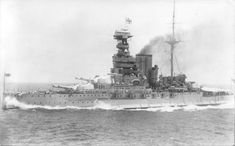 Lead ship of the famous 15 in Queen Elizabeth class battleships, 'QE' herself, at speed: this is her early 1930s iteration; she was further modernised before WW2.  She was the only one of the 5 ship class to miss Jutland in 1916, being in refit st the time.