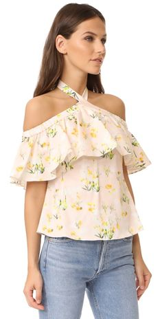 Rebecca Taylor Off Shoulder Firefly Floral Top | SHOPBOP