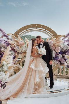 Swooning is an understatement. This breathtakingly gorgeous wedding planned by We Do Agency overlooks the Adriatic Sea in Croatia with a massive circular ceremony arch and luxe florals shaped like a pair of wings in the dreamiest purple hues. Luxe Wedding, Wedding Ceremony, Dream Wedding, Wedding Nails, Wedding Things, European Wedding, Space Wedding, Ceremony Backdrop, Wedding Bridesmaid Dresses