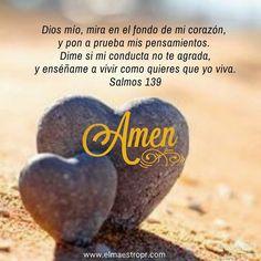 """""""Dime si mi conducta no te agrada, y enséñame a vivir como quieres que yo viva."""" Salmos 139:24"""