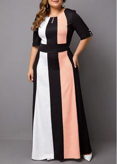 Plus Size Dress Color Block Dress Half Sleeve Dress Party Dress High Waist Dress Maxi Dress Plus Size Color Block Half Sleeve Maxi Dress Half Sleeve Dresses, Plus Size Maxi Dresses, Maxi Dress With Sleeves, Plus Size Outfits, Chiffon Cardigan, Trendy Dresses, Panel Dress, Embellished Dress, Colorblock Dress