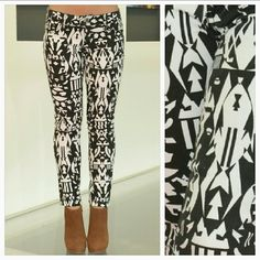 "ALMOST FAMOUS black&white geometric print pants LAST PAIR  Brand new with tags  Super hot and sexy skinny jeans. Pair with your favorite top and booties and you are ready to go!! Black and white geometric print.  Pockets on booty, skinny fit,  Zip up front with button.  98%cotton 2%spandex  Size 7  Inseam approx 29"" rise approx 8""  Print varies on each pair making them unique and individual.   ***also available in size 5***  Price is firm No trades ABS Allen Schwartz Pants"