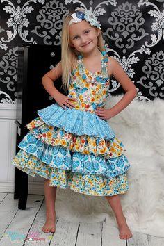 Girls Ruffle Sweetheart Bodice Boutique Dress
